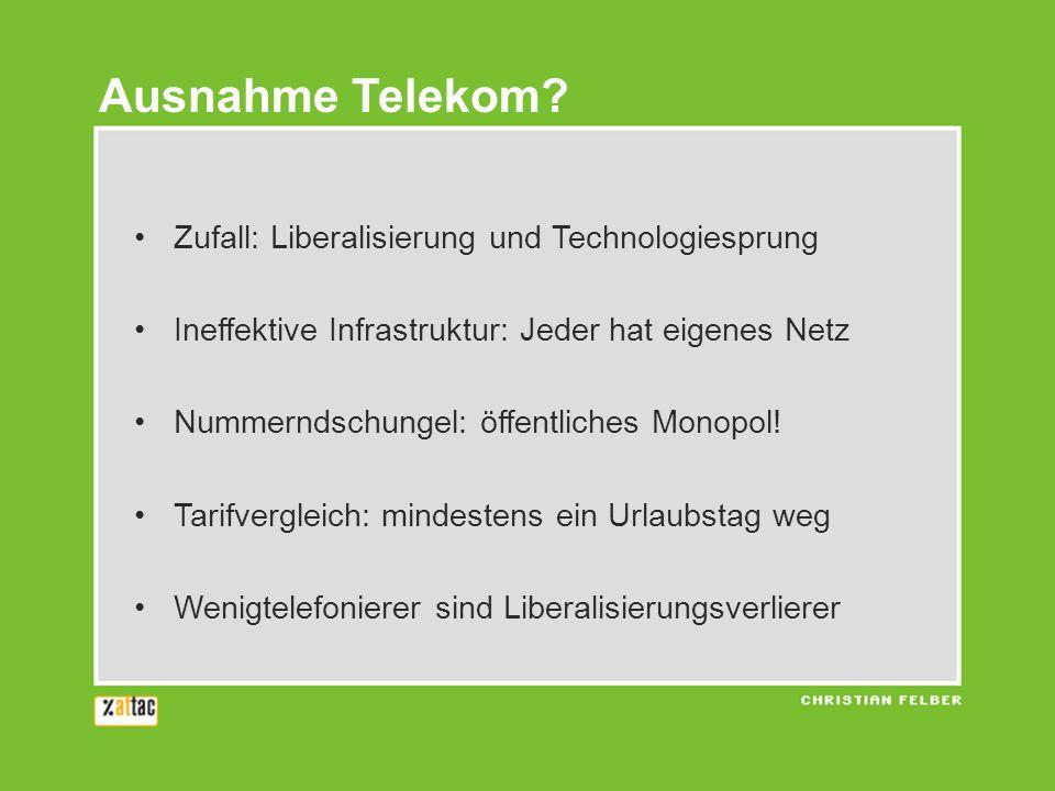 Zufall: Liberalisierung und Technologiesprung Ineffektive Infrastruktur: Jeder hat eigenes Netz Nummerndschungel: öffentliches Monopol! Tarifvergleich