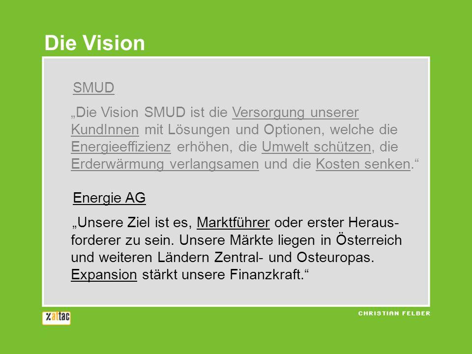 SMUD Die Vision SMUD ist die Versorgung unserer KundInnen mit Lösungen und Optionen, welche die Energieeffizienz erhöhen, die Umwelt schützen, die Erd