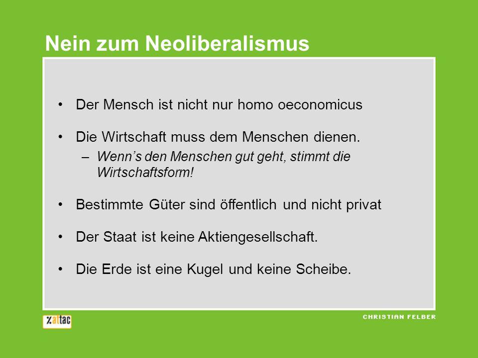 Nein zum Neoliberalismus Der Mensch ist nicht nur homo oeconomicus Die Wirtschaft muss dem Menschen dienen. –Wenns den Menschen gut geht, stimmt die W