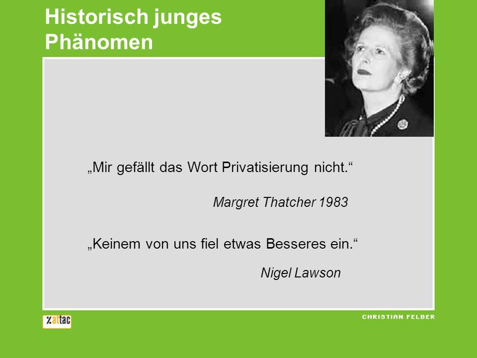 Historisch junges Phänomen Mir gefällt das Wort Privatisierung nicht. Margret Thatcher 1983 Keinem von uns fiel etwas Besseres ein. Nigel Lawson