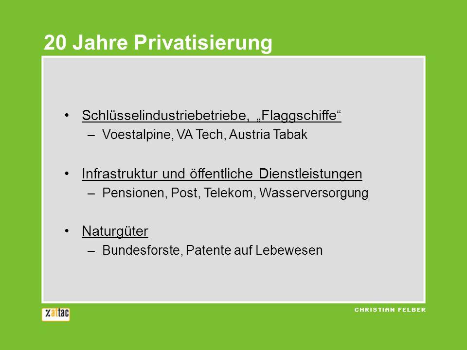 20 Jahre Privatisierung Schlüsselindustriebetriebe, Flaggschiffe –Voestalpine, VA Tech, Austria Tabak Infrastruktur und öffentliche Dienstleistungen –