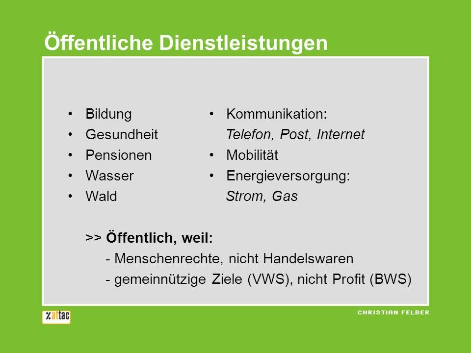 Öffentliche Dienstleistungen Bildung Kommunikation: Gesundheit Telefon, Post, Internet Pensionen Mobilität Wasser Energieversorgung: Wald Strom, Gas >
