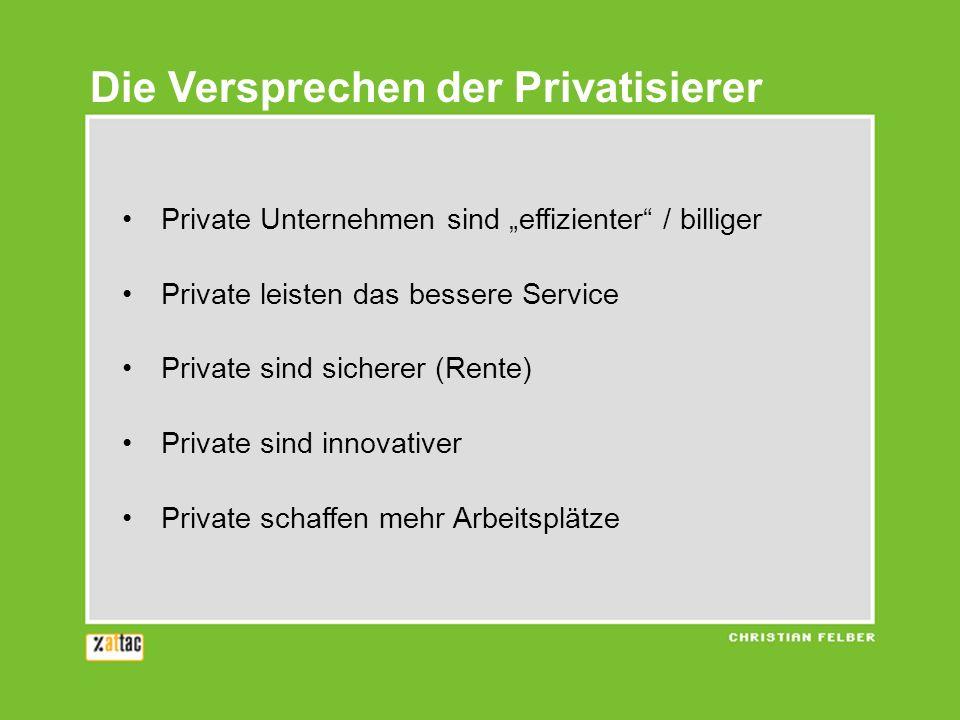 Die Versprechen der Privatisierer Private Unternehmen sind effizienter / billiger Private leisten das bessere Service Private sind sicherer (Rente) Pr