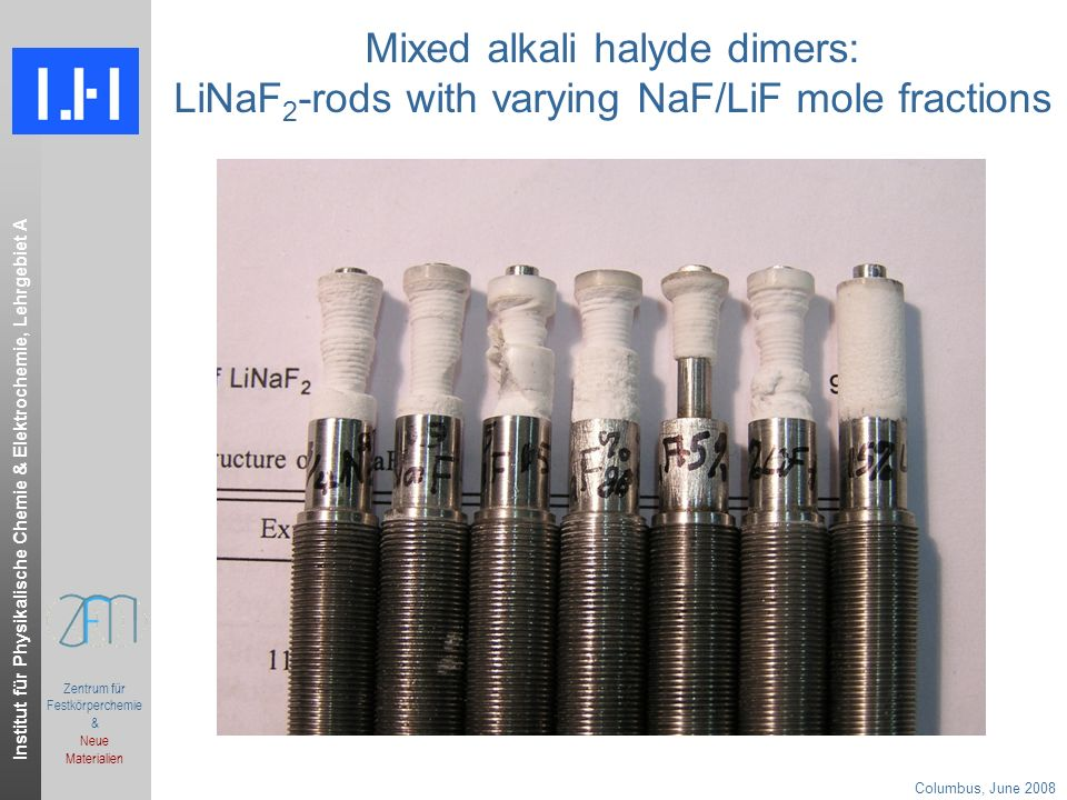 Institut für Physikalische Chemie & Elektrochemie, Lehrgebiet A Columbus, June 2008.ppt Zentrum für Festkörperchemie & Neue Materialien Mixed alkali halyde dimers: LiNaF 2 -rods with varying NaF/LiF mole fractions