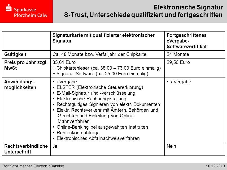Rolf Schumacher, ElectronicBanking10.12.2010 Elektronische Signatur S-Trust, Unterschiede qualifiziert und fortgeschritten Signaturkarte mit qualifizi