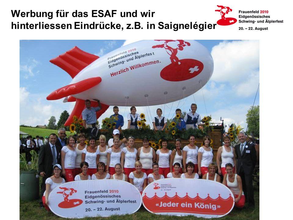 Werbung für das ESAF und wir hinterliessen Eindrücke, z.B.