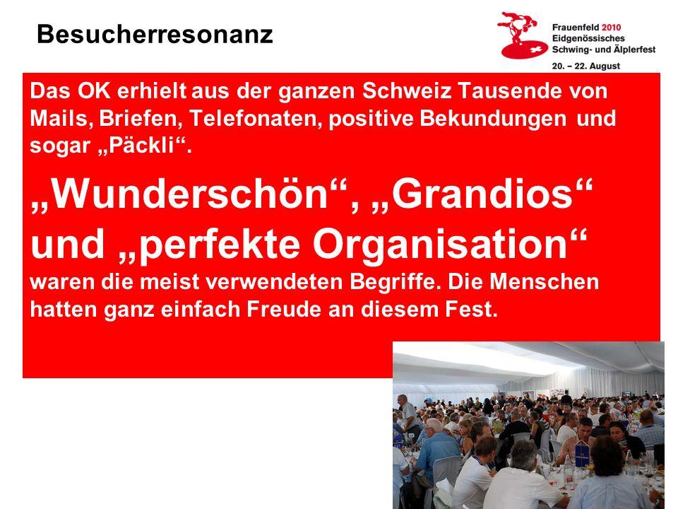 Besucherresonanz Das OK erhielt aus der ganzen Schweiz Tausende von Mails, Briefen, Telefonaten, positive Bekundungen und sogar Päckli.