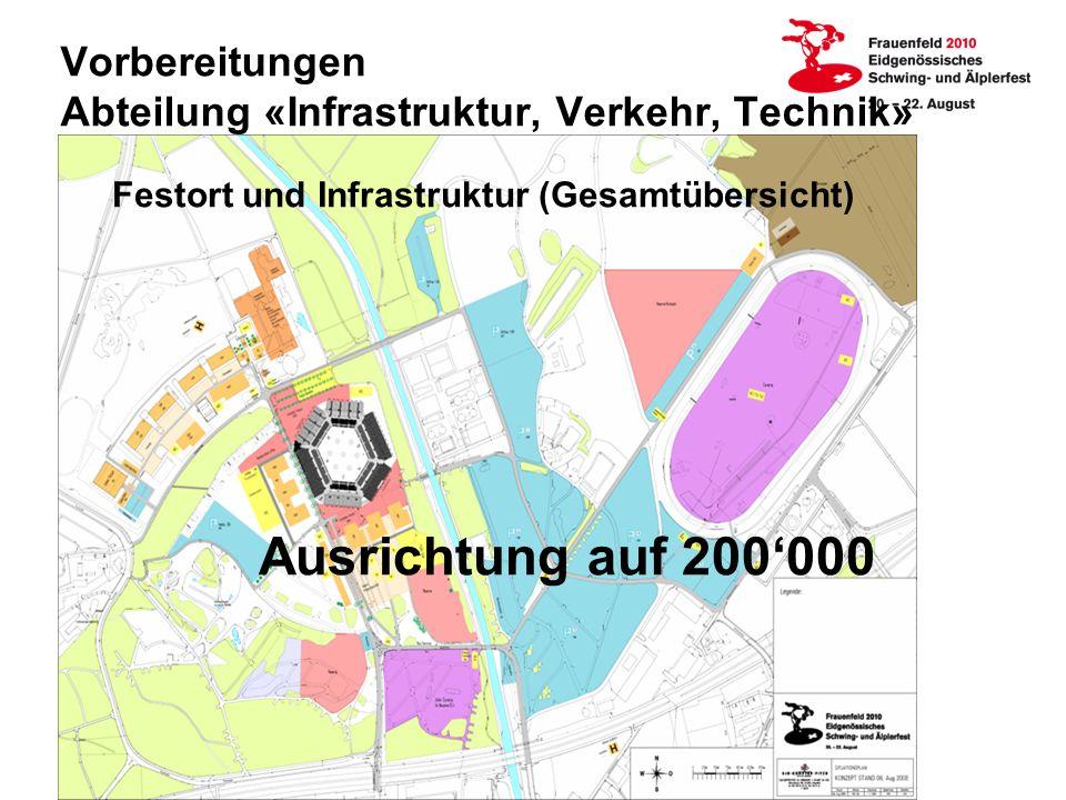 Vorbereitungen Abteilung «Infrastruktur, Verkehr, Technik» Festort und Infrastruktur (Gesamtübersicht) Ausrichtung auf 200000