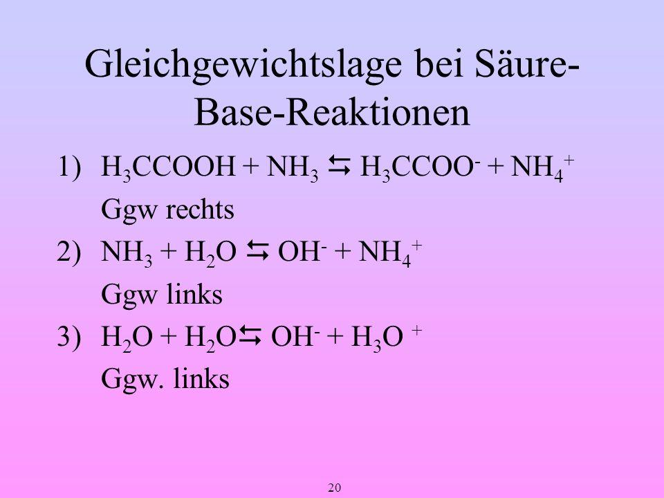 20 Gleichgewichtslage bei Säure- Base-Reaktionen 1) H 3 CCOOH + NH 3 H 3 CCOO - + NH 4 + Ggw rechts 2) NH 3 + H 2 O OH - + NH 4 + Ggw links 3)H 2 O +