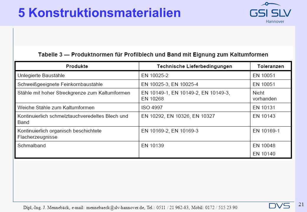 Dipl,-Ing. J. Mennebäck, e-mail: mennebaeck@slv-hannover.de, Tel.: 0511 / 21 962-83, Mobil: 0172 / 515 23 90 21 5 Konstruktionsmaterialien