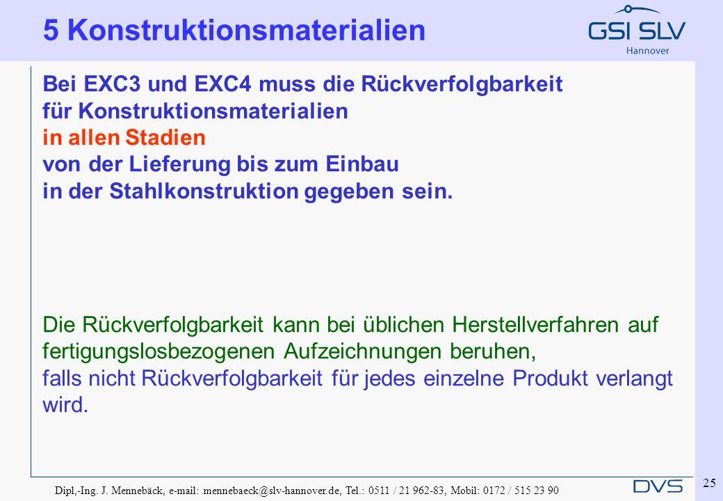 Dipl,-Ing. J. Mennebäck, e-mail: mennebaeck@slv-hannover.de, Tel.: 0511 / 21 962-83, Mobil: 0172 / 515 23 90 25 Bei EXC3 und EXC4 muss die Rückverfolg