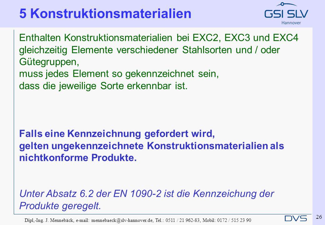 Dipl,-Ing. J. Mennebäck, e-mail: mennebaeck@slv-hannover.de, Tel.: 0511 / 21 962-83, Mobil: 0172 / 515 23 90 26 Enthalten Konstruktionsmaterialien bei