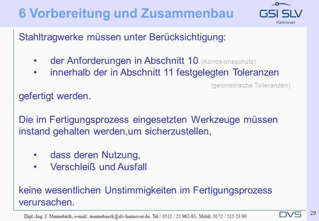 Dipl,-Ing. J. Mennebäck, e-mail: mennebaeck@slv-hannover.de, Tel.: 0511 / 21 962-83, Mobil: 0172 / 515 23 90 29 6 Vorbereitung und Zusammenbau Stahltr