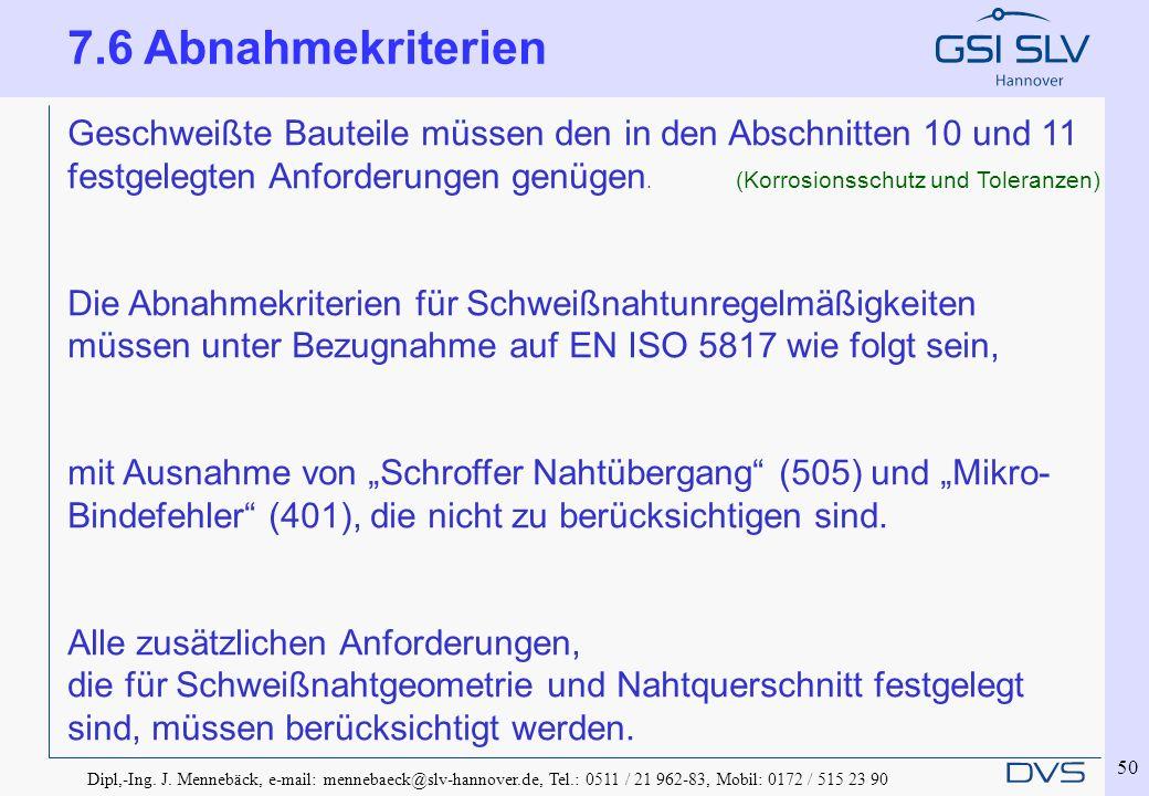 Dipl,-Ing. J. Mennebäck, e-mail: mennebaeck@slv-hannover.de, Tel.: 0511 / 21 962-83, Mobil: 0172 / 515 23 90 50 Geschweißte Bauteile müssen den in den