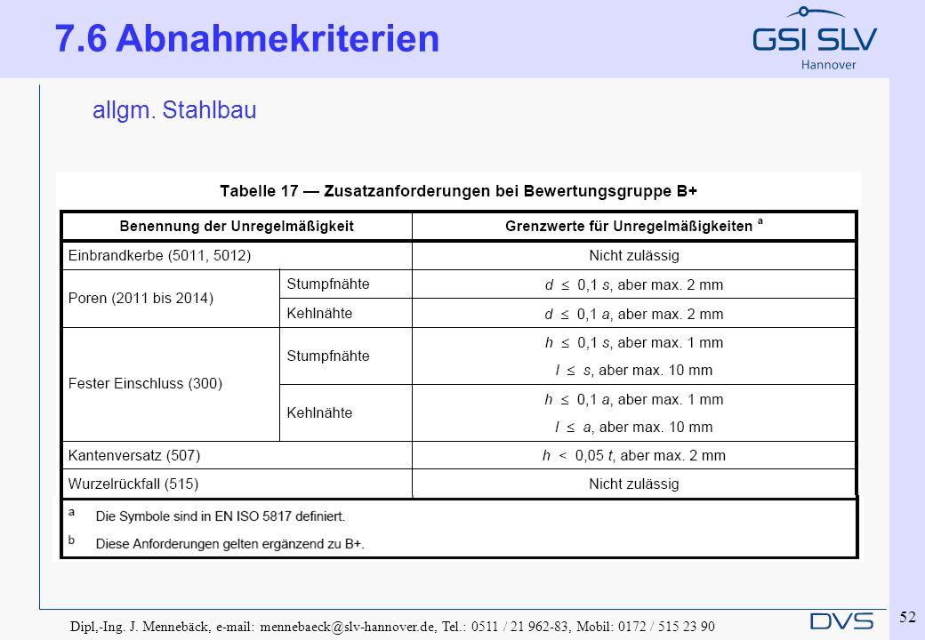 Dipl,-Ing. J. Mennebäck, e-mail: mennebaeck@slv-hannover.de, Tel.: 0511 / 21 962-83, Mobil: 0172 / 515 23 90 52 allgm. Stahlbau 7.6 Abnahmekriterien