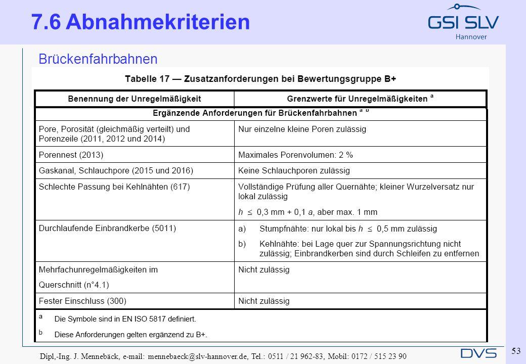 Dipl,-Ing. J. Mennebäck, e-mail: mennebaeck@slv-hannover.de, Tel.: 0511 / 21 962-83, Mobil: 0172 / 515 23 90 53 Brückenfahrbahnen 7.6 Abnahmekriterien