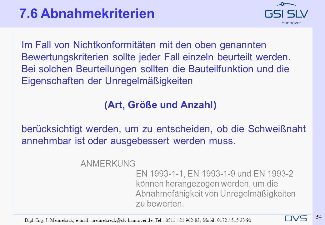 Dipl,-Ing. J. Mennebäck, e-mail: mennebaeck@slv-hannover.de, Tel.: 0511 / 21 962-83, Mobil: 0172 / 515 23 90 54 Im Fall von Nichtkonformitäten mit den