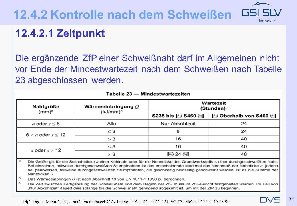 Dipl,-Ing. J. Mennebäck, e-mail: mennebaeck@slv-hannover.de, Tel.: 0511 / 21 962-83, Mobil: 0172 / 515 23 90 58 12.4.2.1 Zeitpunkt Die ergänzende ZfP