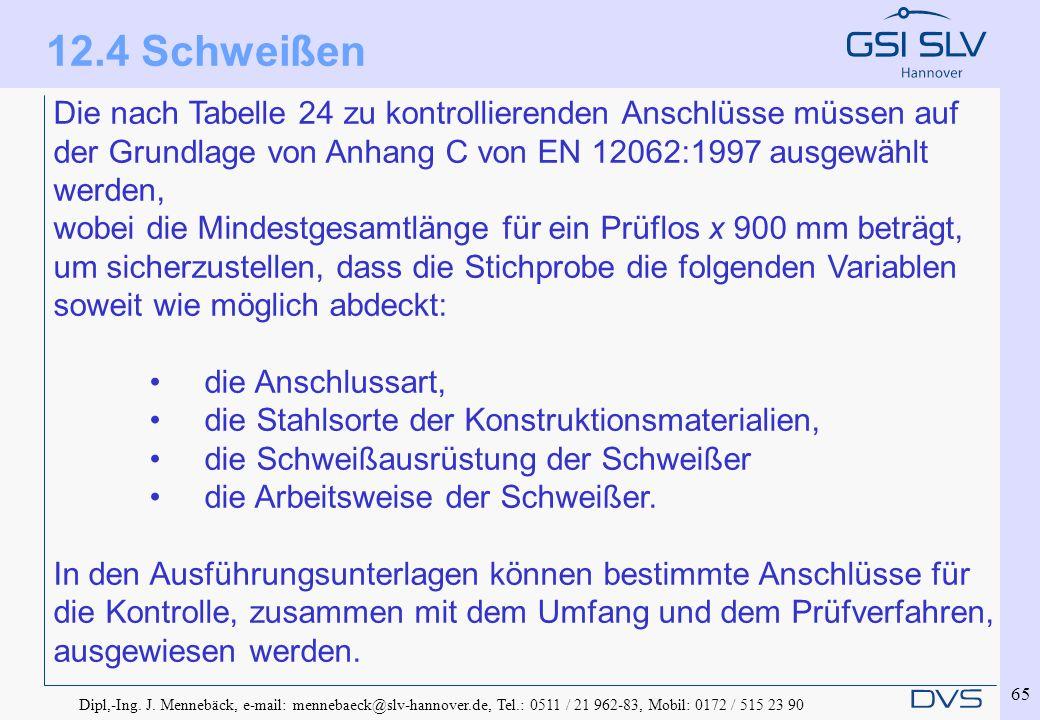 Dipl,-Ing. J. Mennebäck, e-mail: mennebaeck@slv-hannover.de, Tel.: 0511 / 21 962-83, Mobil: 0172 / 515 23 90 65 Die nach Tabelle 24 zu kontrollierende