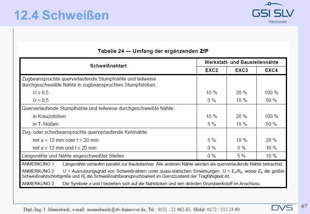 Dipl,-Ing. J. Mennebäck, e-mail: mennebaeck@slv-hannover.de, Tel.: 0511 / 21 962-83, Mobil: 0172 / 515 23 90 67 12.4 Schweißen