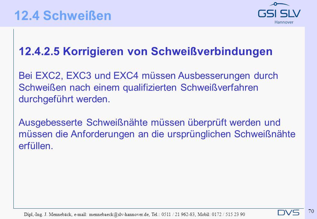 Dipl,-Ing. J. Mennebäck, e-mail: mennebaeck@slv-hannover.de, Tel.: 0511 / 21 962-83, Mobil: 0172 / 515 23 90 70 12.4.2.5 Korrigieren von Schweißverbin