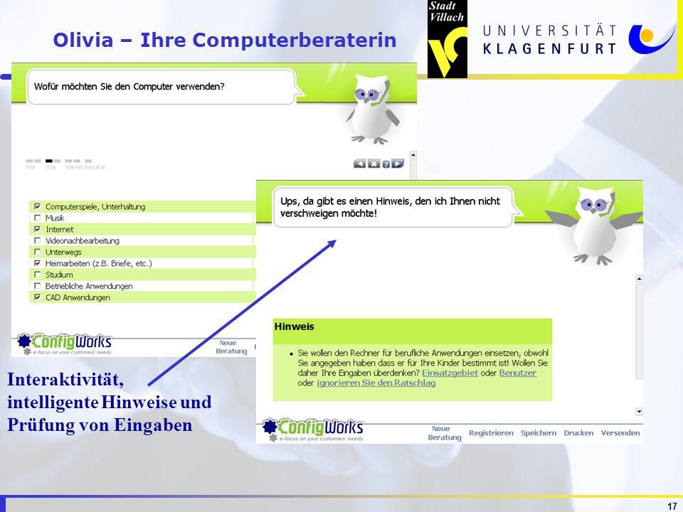 17 Olivia – Ihre Computerberaterin Interaktivität, intelligente Hinweise und Prüfung von Eingaben