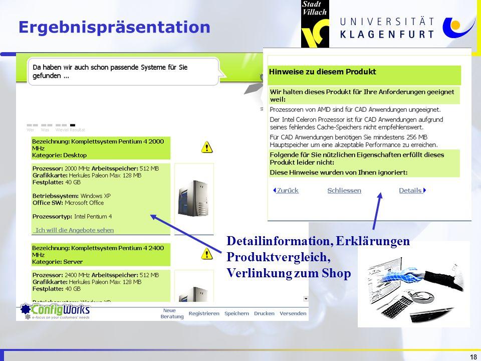 18 Detailinformation, Erklärungen Produktvergleich, Verlinkung zum Shop Ergebnispräsentation
