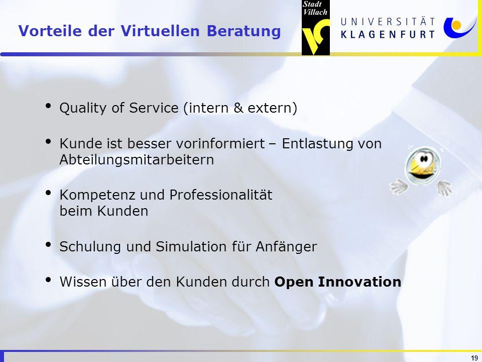 19 Vorteile der Virtuellen Beratung Quality of Service (intern & extern) Kunde ist besser vorinformiert – Entlastung von Abteilungsmitarbeitern Kompet