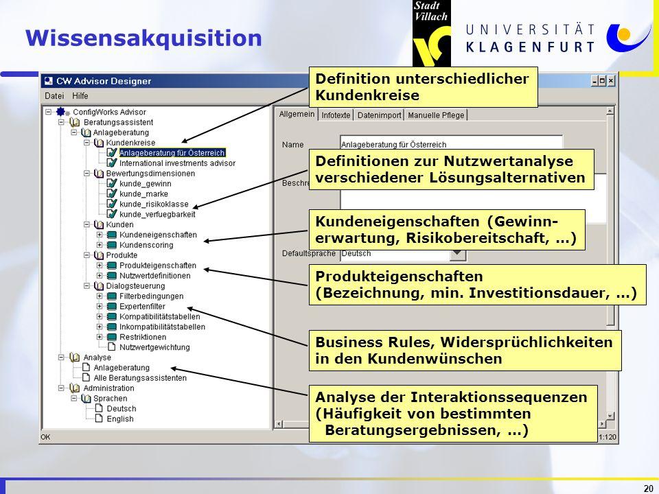20 Analyse der Interaktionssequenzen (Häufigkeit von bestimmten Beratungsergebnissen,...) Business Rules, Widersprüchlichkeiten in den Kundenwünschen