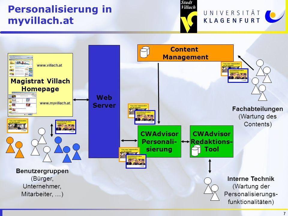 7 Personalisierung in myvillach.at CWAdvisor Personali- sierung Content Management Magistrat Villach Homepage Web Server www.villach.at www.myvillach.
