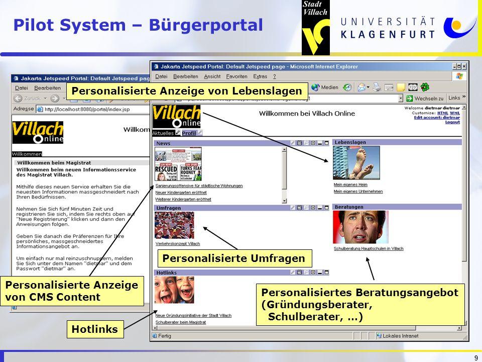 9 Pilot System – Bürgerportal Personalisierte Anzeige von Lebenslagen Personalisiertes Beratungsangebot (Gründungsberater, Schulberater, …) Personalis