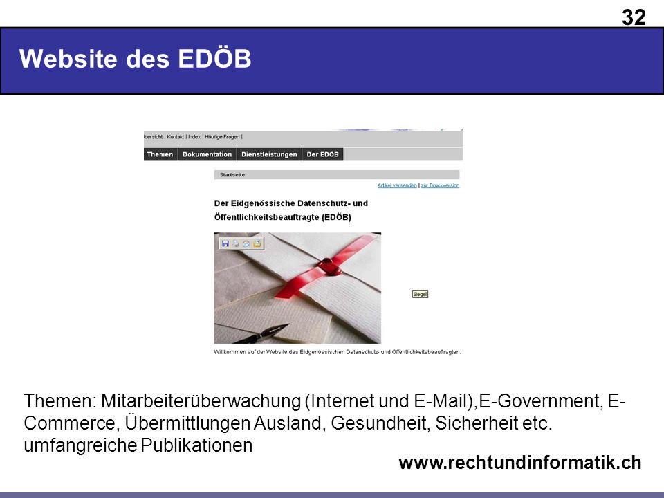 32 www.rechtundinformatik.ch Website des EDÖB Themen: Mitarbeiterüberwachung (Internet und E-Mail),E-Government, E- Commerce, Übermittlungen Ausland,