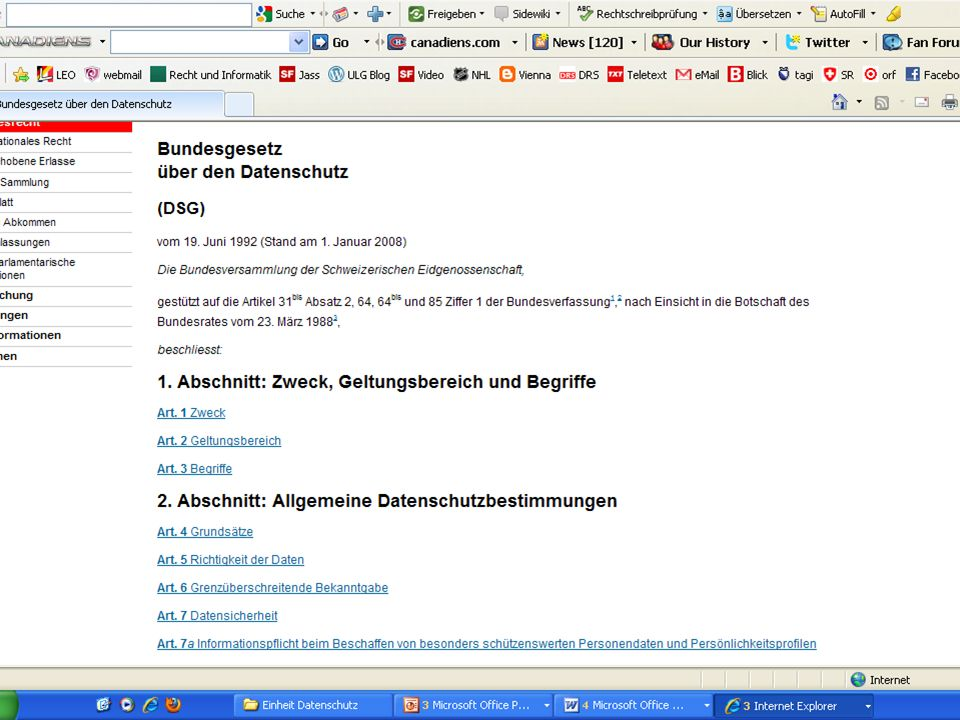Allgemeine Datenschutzgrundsätze Datensicherheit (DSG 7) WEF-Hack im Jahr 2000 Zugriff auf Prominenten-DB -> offener Port -> Adressverwaltungs-Tool ohne genügenden Passwortschutz
