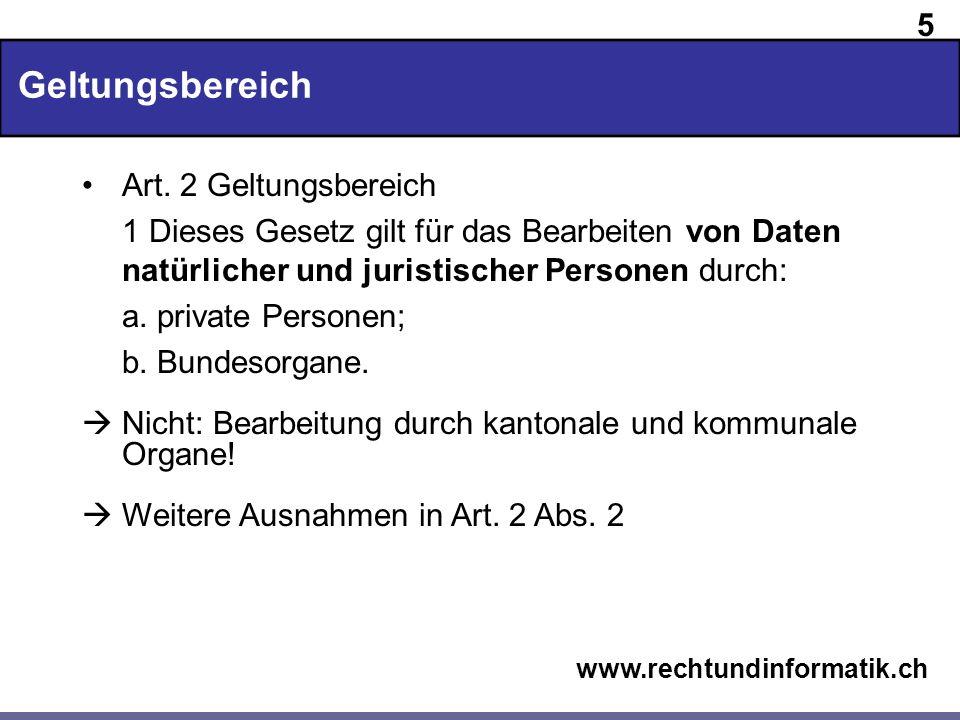 16 www.rechtundinformatik.ch Allgemeine Datenschutzgrundsätze Datensicherheit (DSG 7) Unbefugtes Eindringen in ein Datenverarbeitungssystem (Art.