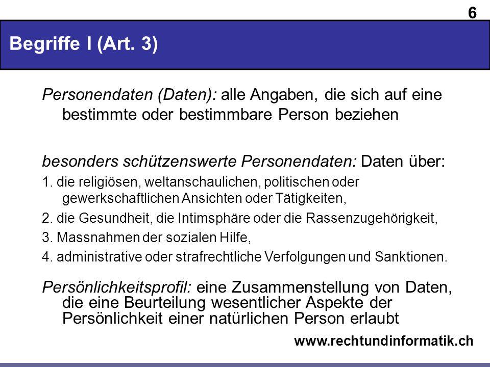 17 www.rechtundinformatik.ch Allgemeine Datenschutzgrundsätze Datensicherheit (DSG 7 und VDSG 8 ff.) Wie können Personendaten gesichert werden?