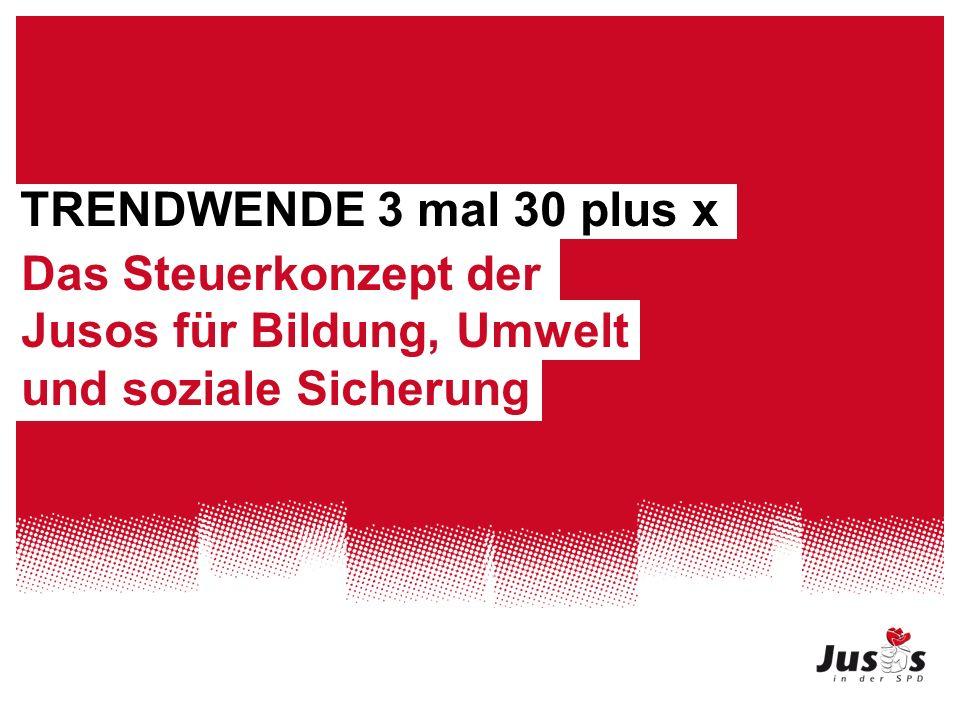 TRENDWENDE 3 mal 30 plus x Das Steuerkonzept der Jusos für Bildung, Umwelt und soziale Sicherung