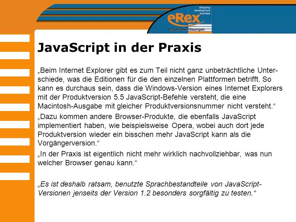 JavaScript in der Praxis Beim Internet Explorer gibt es zum Teil nicht ganz unbeträchtliche Unter- schiede, was die Editionen für die den einzelnen Pl