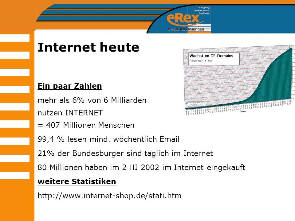 Internet heute Ein paar Zahlen mehr als 6% von 6 Milliarden nutzen INTERNET = 407 Millionen Menschen 99,4 % lesen mind. wöchentlich Email 21% der Bund