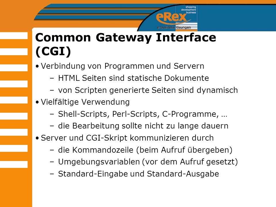 Common Gateway Interface (CGI) Verbindung von Programmen und Servern –HTML Seiten sind statische Dokumente –von Scripten generierte Seiten sind dynami