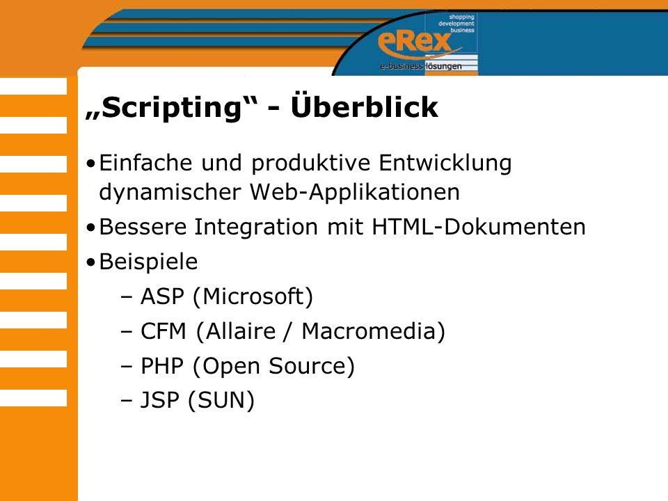 Scripting - Überblick Einfache und produktive Entwicklung dynamischer Web-Applikationen Bessere Integration mit HTML-Dokumenten Beispiele –ASP (Micros
