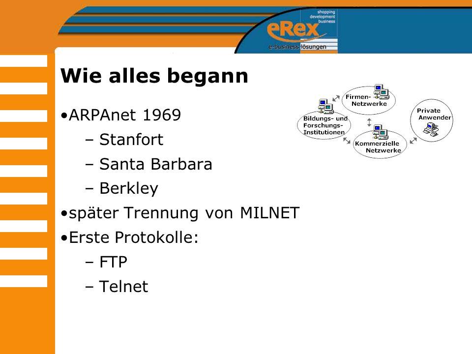 Wie alles begann ARPAnet 1969 –Stanfort –Santa Barbara –Berkley später Trennung von MILNET Erste Protokolle: –FTP –Telnet
