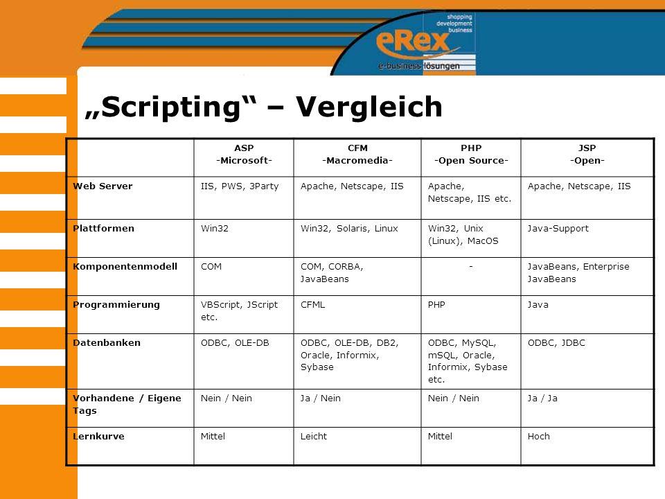 Scripting – Vergleich ASP -Microsoft- CFM -Macromedia- PHP -Open Source- JSP -Open- Web ServerIIS, PWS, 3PartyApache, Netscape, IIS Apache, Netscape,