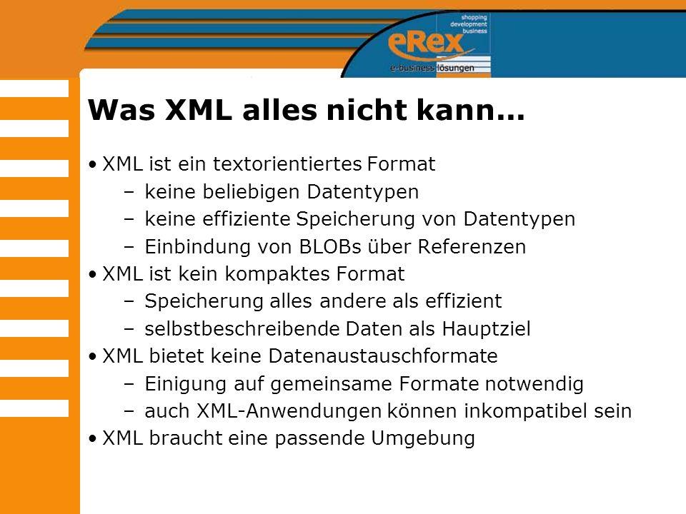 Was XML alles nicht kann... XML ist ein textorientiertes Format –keine beliebigen Datentypen –keine effiziente Speicherung von Datentypen –Einbindung