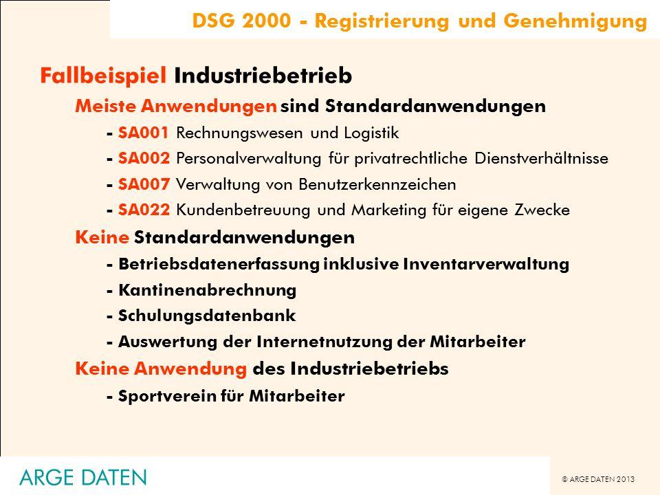 © ARGE DATEN 2013 ARGE DATEN Fallbeispiel Industriebetrieb Meiste Anwendungen sind Standardanwendungen - SA001 Rechnungswesen und Logistik - SA002 Per