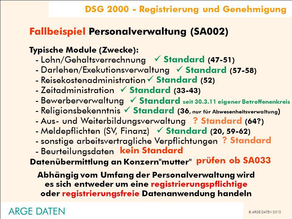© ARGE DATEN 2013 ARGE DATEN Typische Module (Zwecke): -Lohn/Gehaltsverrechnung -Darlehen/Exekutionsverwaltung -Reisekostenadministration -Zeitadminis