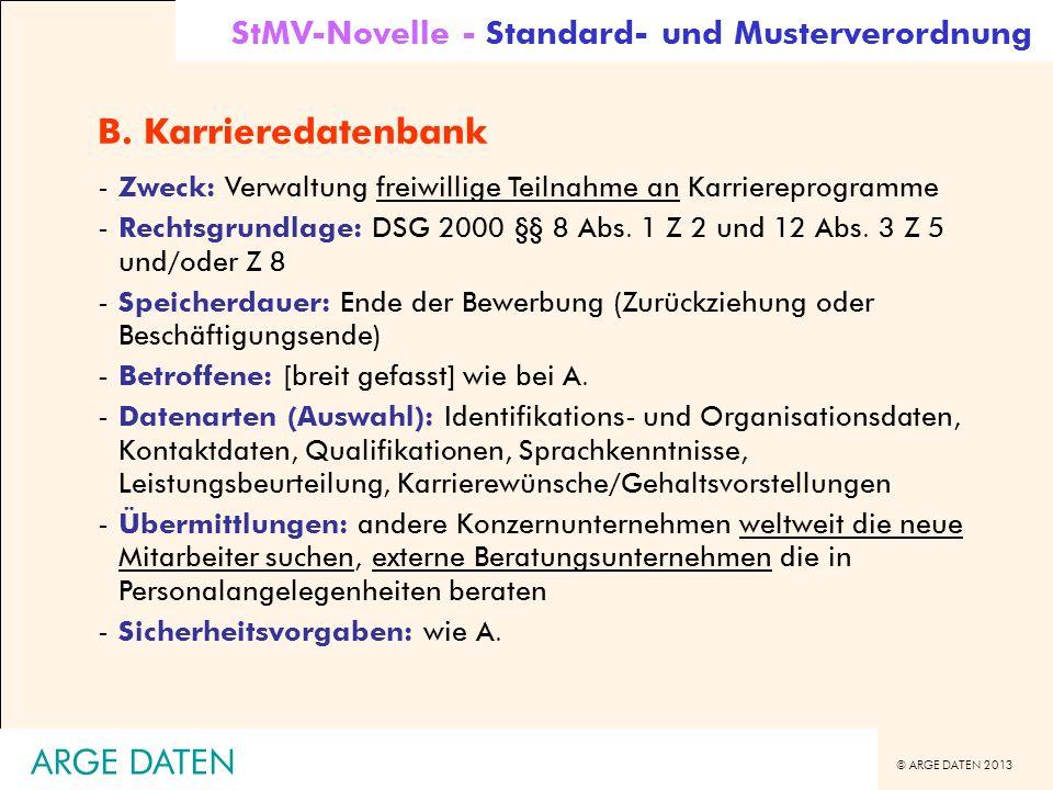 © ARGE DATEN 2013 ARGE DATEN B. Karrieredatenbank -Zweck: Verwaltung freiwillige Teilnahme an Karriereprogramme -Rechtsgrundlage: DSG 2000 §§ 8 Abs. 1