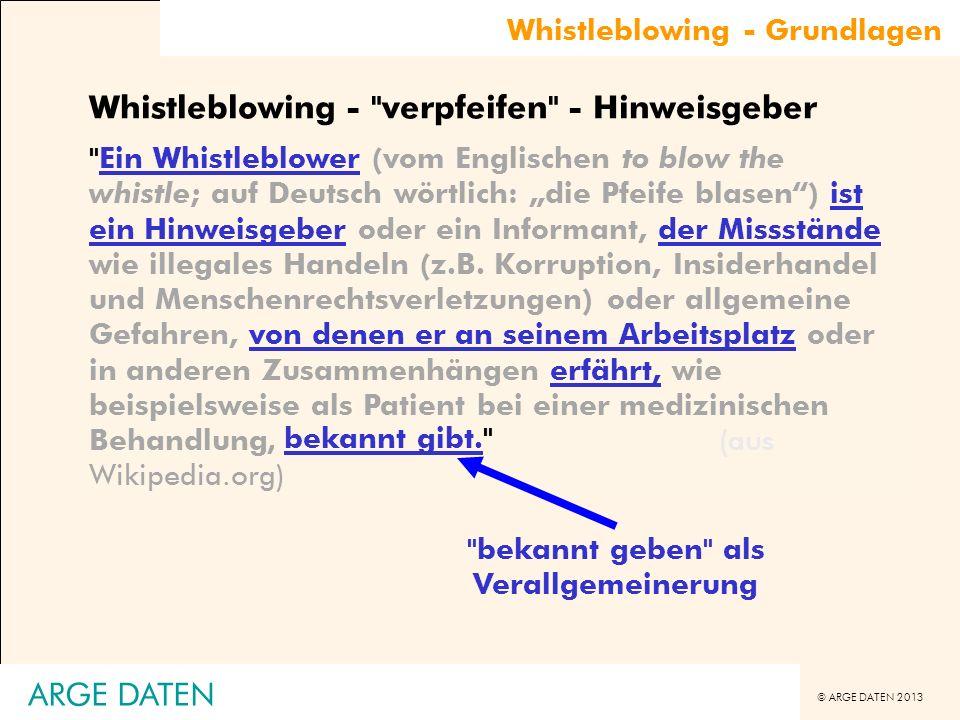 © ARGE DATEN 2013 Whistleblowing - Grundlagen Whistleblowing -