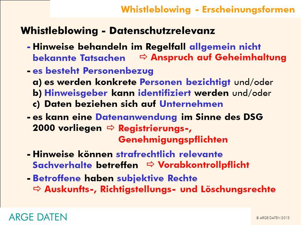 © ARGE DATEN 2013 Whistleblowing - Erscheinungsformen Whistleblowing - Datenschutzrelevanz -Hinweise behandeln im Regelfall allgemein nicht bekannte T