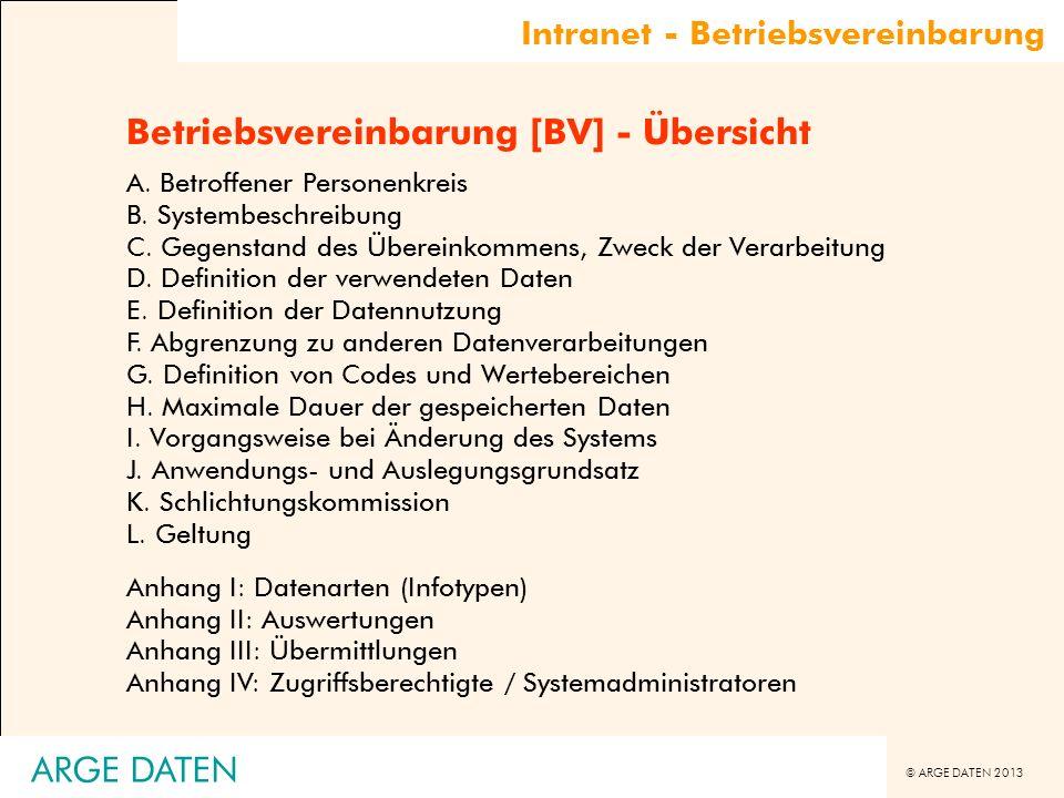 © ARGE DATEN 2013 ARGE DATEN Betriebsvereinbarung [BV] - Übersicht A. Betroffener Personenkreis B. Systembeschreibung C. Gegenstand des Übereinkommens
