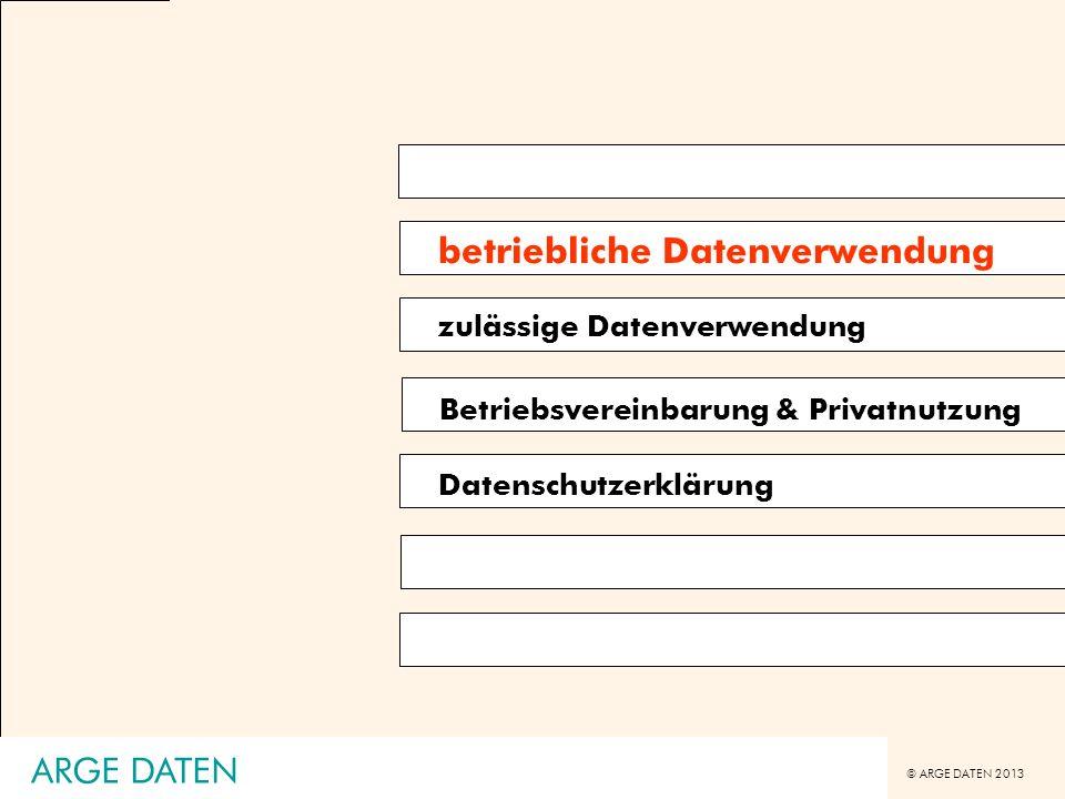 © ARGE DATEN 2013 ARGE DATEN DSK K121.259 (Internet als Datenanwendungen) Ausgangslage -Mitarbeiter ersuchte um Auskunft der über ihn gespeicherten Daten -beauskunftet wurden (nach Beschwerdeverfahren): SAP-HR-Verwaltung, IT-Berechtigungsverwaltung, Zutrittskontrollsystem (teilweise) -verweigert wurde: Internetprotokollierung (sei nur Sicherheitsprotokollierung), eMail-Verwaltung (Groupwise-Lösung, sei nur Dienstleistung für Mitarbeiter) Entscheidung DSK -Auskunft ist zu erteilen -Internetprotokollierung: geht über die Protokollierungspflichten nach § 14 DSG 2000 hinaus, ist daher eigenständige Anwendung -eMail-Verwaltung: es handelt sich um eine Datenanwendung der Organisation, nicht des Mitarbeiters Datenverarbeitungen